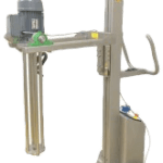 Shear Mixer Attachment for Lifting and Tilting to and from Mixing Bowls